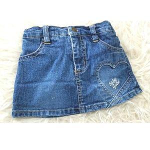 VTG Baby GUESS  denim mini skirt silver logo